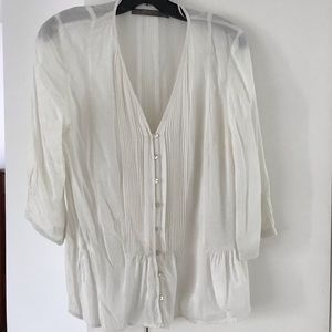 Sheer white Zara pintuck blouse